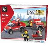 Joc constructie Masina de pompieri cu remorca, 143 piese, Blocki