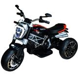 Motocicleta tip triciclu cu acumulator, culoare negru/alb, 12 V