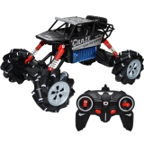Jeep cu telecomanda, roti cauciuc, suspensii, 27 cm, negru/rosu