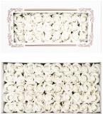 Trandafiri decorativi din sapun, culoare alb, 50 buc/set