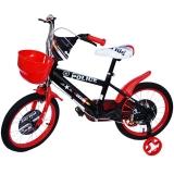 Bicicleta copii, baieti, cadru metalic, roti 16 inch, cos plastic, negru Police