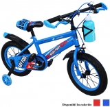 Bicicleta copii, cadru metalic, roti 14 inch, roti ajutatoare, suport sticla, diferite culori, Free