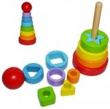 Joc piramida cu cercuri, din lemn