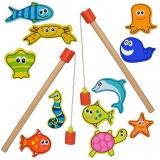 Joc de pescuit din lemn, magnetic