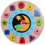 Puzzle educativ, din lemn, model ceas, 19 cm