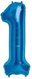 Balon cifra 1, din folie de aluminiu, albastru, 46 cm