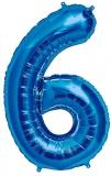 Balon cifra 6, din folie de aluminiu, albastru, 46 cm