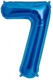 Balon cifra 7, din folie de aluminiu, albastru, 46 cm