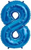 Balon cifra 8, din folie de aluminiu, albastru, 46 cm