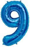 Balon cifra 9, din folie de aluminiu, albastru, 46 cm