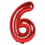 Balon cifra 6, din folie de aluminiu, rosu, 46 cm