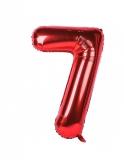 Balon cifra 7, din folie de aluminiu, rosu, 46 cm