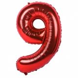 Balon cifra 9, din folie de aluminiu, rosu, 46 cm