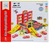 Set de joaca Parcare cu masina si elicopter, culoare rosu