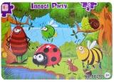 Puzzle carton, 16 piese, model insecte