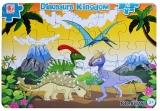 Puzzle carton, 16 piese, model dinozauri