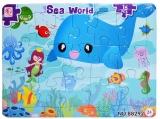 Puzzle carton, 16 piese, model animale marine