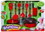 Set de joaca Ustensile bucatarie, culoare rosu/negru, 1 set/cutie