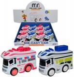 Jucarie Microbuz din metal, culori alb/rosu si alb/albastru, 12 buc/set