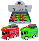 Jucarie Microbuz din metal, culori rosu si verde, 12 buc/set