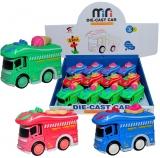 Jucarie Microbuz din metal, culori verde, rosu si albastru, 12 buc/set