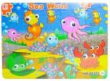 Puzzle carton, 28 piese, model Animale Marine