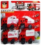 Masinute de pompieri, 4 buc/blister
