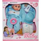 Bebelus cu biberon si accesorii, baiat