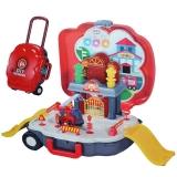 Set de joaca Parcare cu masina pompieri, muzica si lumina, 1 set/troller
