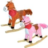 Calut balansoar din lemn si plus, roz/caramiziu/maro, 60 cm