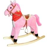 Calut balansoar din lemn si plus, roz, 73 cm