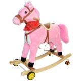 Calut balansoar din lemn si plus, cu rotite, roz, 75 cm