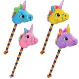 Unicorn de calarit cu tija, rotile si sunet, diverse culori, 80 cm