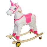 Unicorn balansoar din lemn si plus, cu rotile, alb cu roz, 77 cm