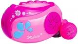 Casetofon cu microfon si baterii, roz