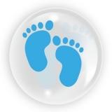 Balon transparent nou nascut, picioruse, pentru baieti, 45 cm, Tuban