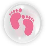 Balon transparent nou nascut, picioruse, pentru fete, 45 cm, Tuban