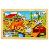 Puzzle din lemn, 24 piese, Ferma Animalelor