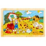 Puzzle din lemn, 24 piese, Ferma Animalelor 2