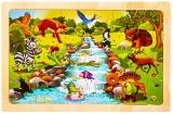 Puzzle din lemn, 24 piese, Animale salbatice 1