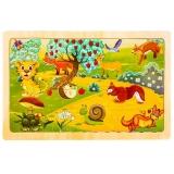 Puzzle din lemn, 24 piese, Animale salbatice 2