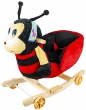 Balansoar din plus pentru bebelusi, cu rotile, model Buburuza, 54 cm