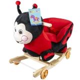 Balansoar din plus pentru bebelusi, cu rotile, model Buburuza, 50 cm