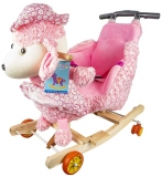 Balansoar din plus pentru bebelusi, cu rotile, model Catel roz, 58 cm