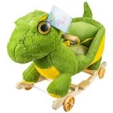 Balansoar din plus pentru bebelusi, cu rotile, model Dinozaur, 50 cm