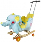 Balansoar din plus pentru bebelusi, cu rotile, model Elefant, 56 cm