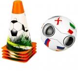 Set antrenament fotbal cu minge si 4 jaloane