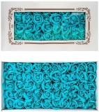 Trandafiri decorativi din sapun, culoare azuriu, 50 buc/set