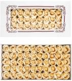 Trandafiri decorativi din sapun, culoare crem, 50 buc/set