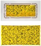 Trandafiri decorativi din sapun, culoare galben, 50 buc/set